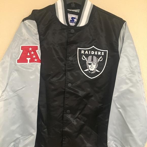 Black Oakland Raiders Starter O-Line Varsity Full-Button Satin Jacket